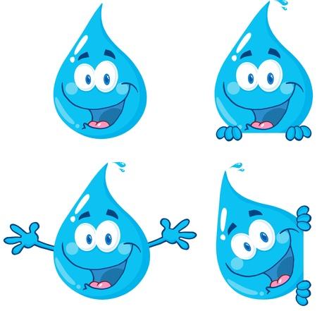 Water Drop Cartoon Mascot Characters 1