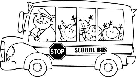 Illustration pour Outlined School Bus With Happy Children  - image libre de droit