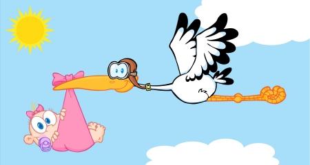 Illustration for Stork Delivering A Newborn Baby Girl - Royalty Free Image