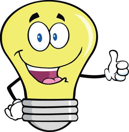 Light Bulb Cartoon Mascot Character Giving A Thumb Up