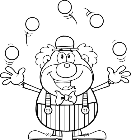 Black and White Funny Clown Cartoon Character Juggling With Balls  Illustration Isolated on white
