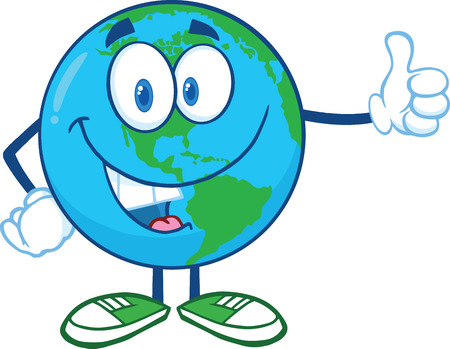Earth Cartoon Mascot Character Showing Thumbs Up  Illustration Isolated on white