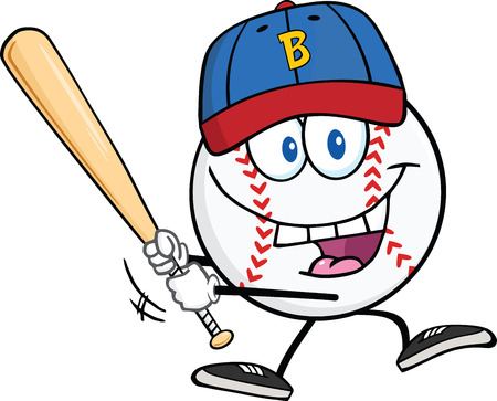 Happy Baseball Ball With Cap Swinging A Baseball Bat  Illustration Isolated on white