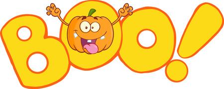 Boo Text With Scaring Halloween Pumpkin Cartoon Mascot Character