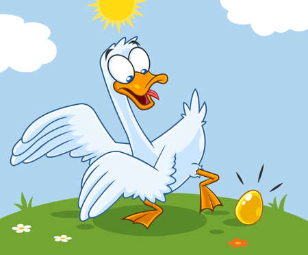 Illustration for White Goose Cartoon Character With Golden Egg. Vector Illustration With Landscape Background - Royalty Free Image