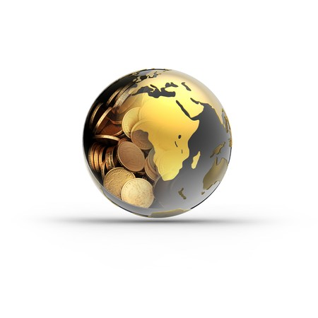 money globe isolated on white background. 3d render