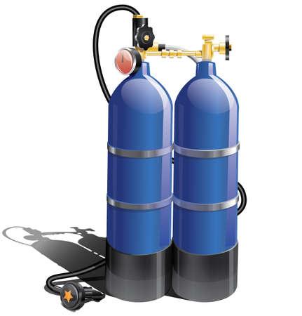 Blue aqualung for scuba diving