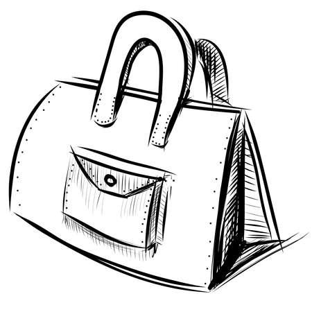 Illustration pour Hand bag isolated on white - image libre de droit