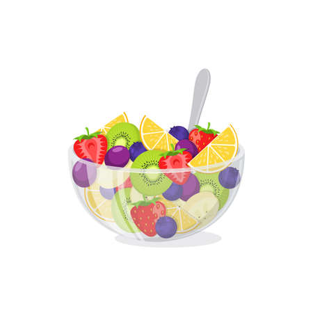 Healthy vegetarian food  meal isolated on white. Vector illustration.