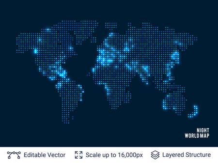 Illustration pour Dotted blank black world map. - image libre de droit