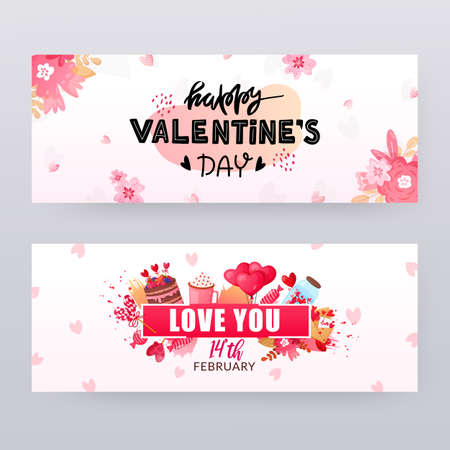 Illustration pour Set of Saint Valentines Day banners with text. - image libre de droit