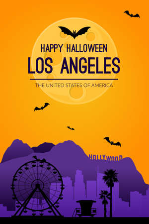 Los Angeles, USA. Halloween holiday background.