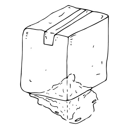 Crumpled cardboard box. Vector illustration cardboard box sealed with adhesive tape. Uneven box. Hand drawn damaged box with a damaged side.