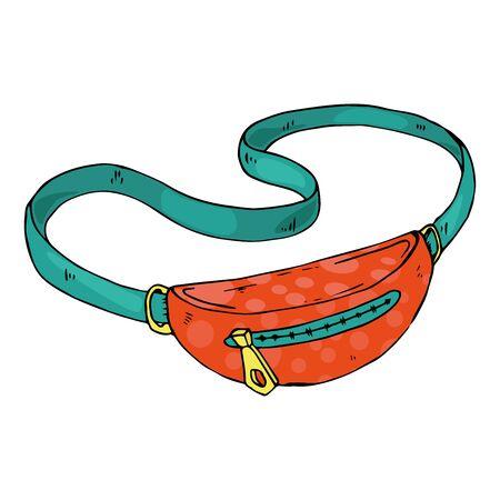 Bag icon. Vector illustration of men's belt bag. Hand drawn men's shoulder bag.