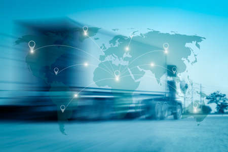 Photo pour World international map connection connect network with blurred distribution logistic cargo warehouse background - image libre de droit