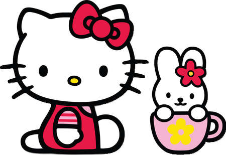 Hello Kitty And Bunny illustration