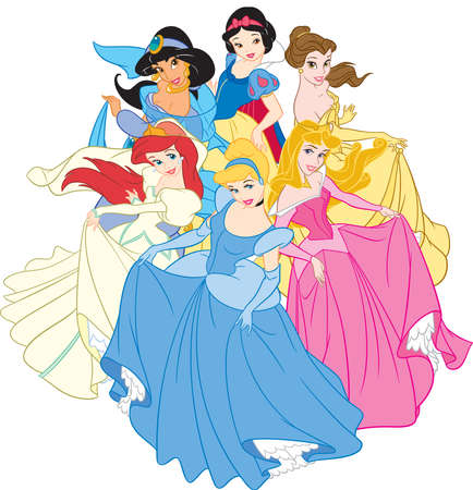 snow white cinderella Aurora belle Jasmine Ariel princess illustation