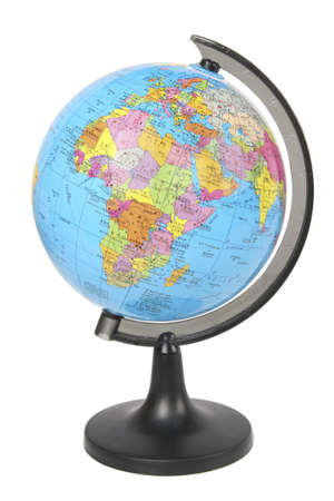 school globe displaying the africa and europe isolated on white