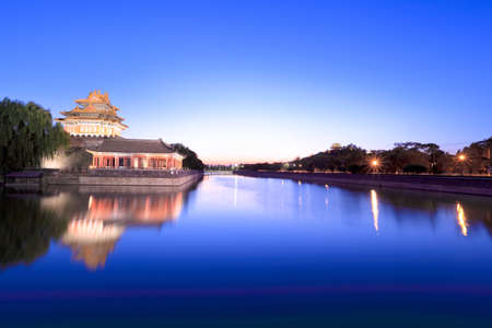 turret of the forbidden city at dusk in beijing,China