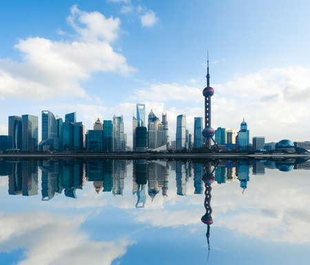 shanghai skyline at daytime with reflection,China
