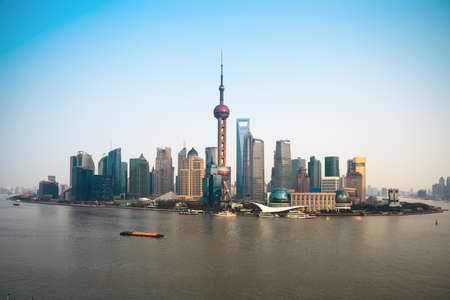 panoramic view of modern pudong skyline in shanghai
