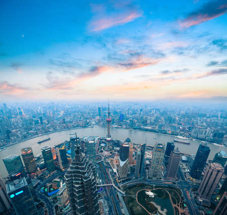 Photo pour bird's eye view of shanghai panorama with beautiful sunset glow - image libre de droit