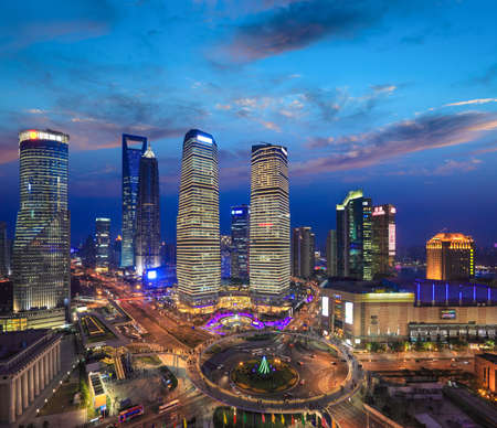 Photo pour bird's eye view of shanghai skyline at sunset,the most prosperous areas in China - image libre de droit