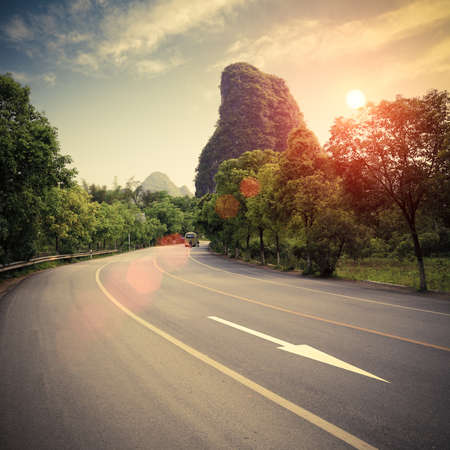 highway at sunset in guilin,China