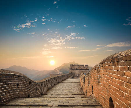 China great wall in sunset