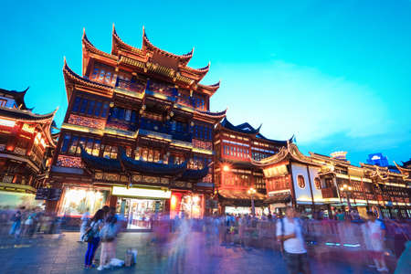 traditional shopping area in shanghai at dusk, China