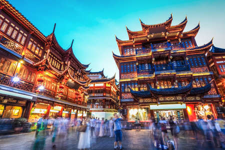 beautiful yuyuan garden at night,traditional shopping area in shanghai, China.