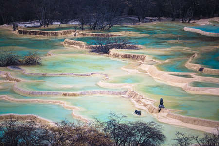 travertine ponds in huanglong scenic area ,sichuan ,China