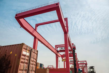 container freight yard with gantry crane , port machinery close up