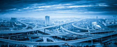 Photo for panoramic view of interchange overpass bridge in nanjing, blue tone - Royalty Free Image
