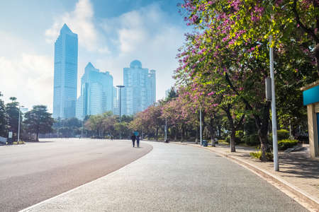 guangzhou street scene ,asphalt road with modern buildings and bauhinia trees ,China