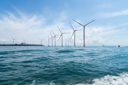 Photo for offshore wind farm with beautiful seascape , indonesia - Royalty Free Image
