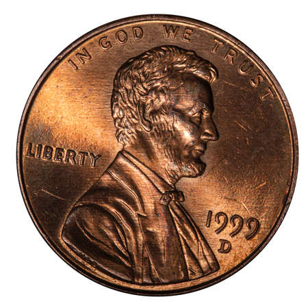 one cent USA, isolated