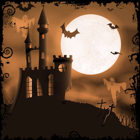 Halloween background with haunted castle bats ghosts full moon and grunge elements