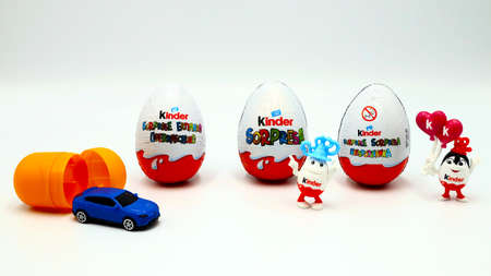 Italy – November 30, 2019: Kinder Surprise Chocolate Eggs. Kinder Surprise is a brand of products made in Italy by Ferrero