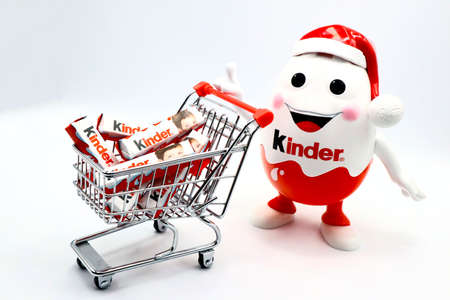 Italy – November 26, 2019: Kinder Chocolate bars. Kinder is a brand of food products made in Italy by Ferrero