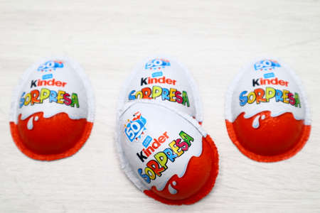 Italy – July 20, 2019: Kinder Surprise Chocolate Eggs. Kinder Surprise is a brand of products made in Italy by Ferrero
