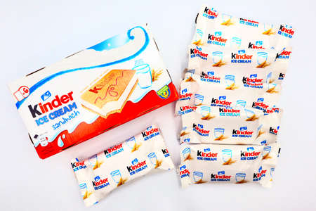 Italy – May 7, 2020: Kinder Sandwich Ice Cream. Kinder is a brand of food products of Ferrero. The Kinder Ice Cream is a collaboration between Ferrero and Unilever