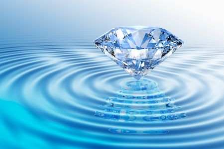 Blue diamond on  rippled water  with reflection