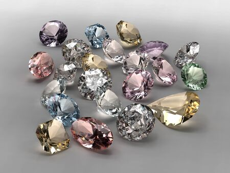 Shiny diamonds in different shapes and colors on gray background