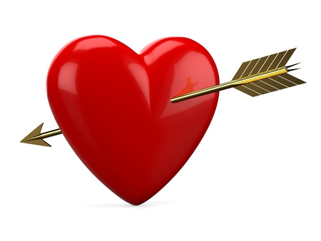 Red heart pierced with golden arrow isolated on white background
