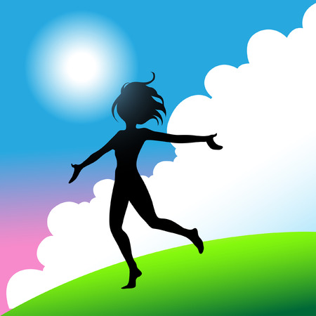 a girl jumping and running around with joy