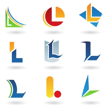 Vector illustration of abstract icons based on the letter L
