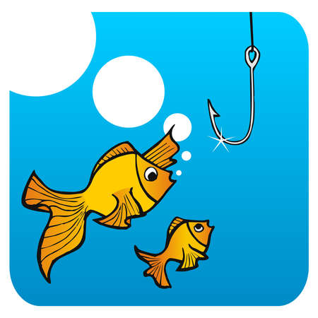 Father fish teaching his small son not to bite the hook.