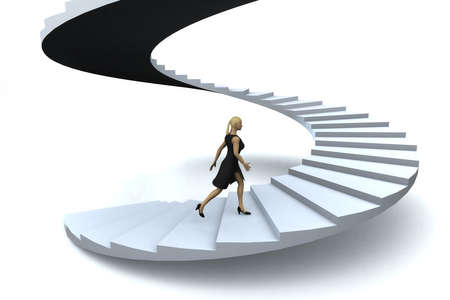 A businesswoman walking upstairs the success staircase.