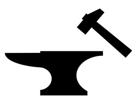 Anvil and mallet black silhouette illustration over white background.